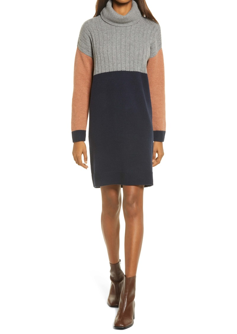 Madewell Colorblock Turtleneck Sweater Dress