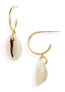 Madewell Cowrie Shell Mini Hoop Earrings