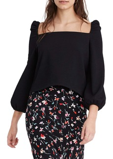 Madewell Crepe Square Neck Puff Sleeve Top