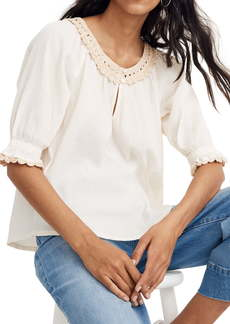 Madewell Crochet Peasant Top