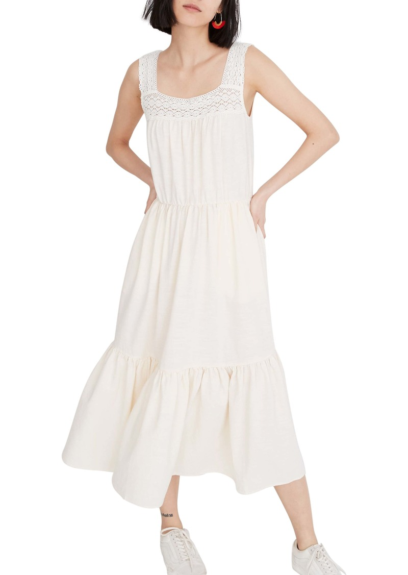 Madewell Crochet Strap Tiered Midi Dress