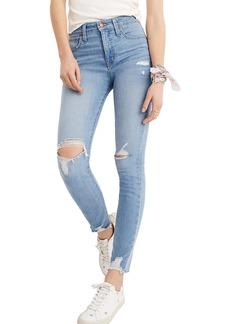 Madewell Curvy High Waist Distressed Hem Skinny Jeans (Ontario Wash)