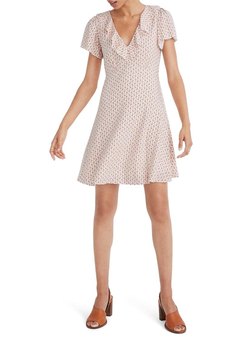 Madewell Cutout Blooms Ruffle Flutter Sleeve Dress
