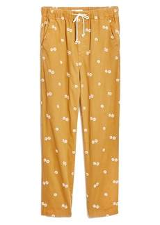 Madewell Daisy Embroidered Drawstring Classic Straight Pants