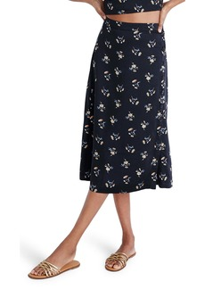 Madewell Daisy Print Side-Button Midi Skirt