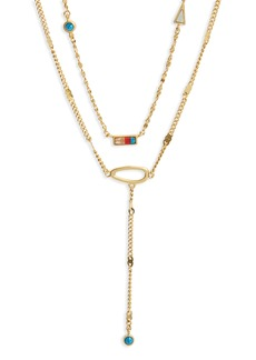 Madewell Delicate Stone Inlay Layer Pendant Necklace
