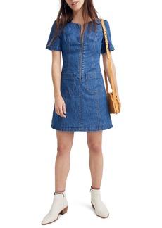 Madewell Denim A-Line Zip Front Dress