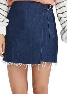 Madewell Denim Raw Hem Mini Wrap Skirt