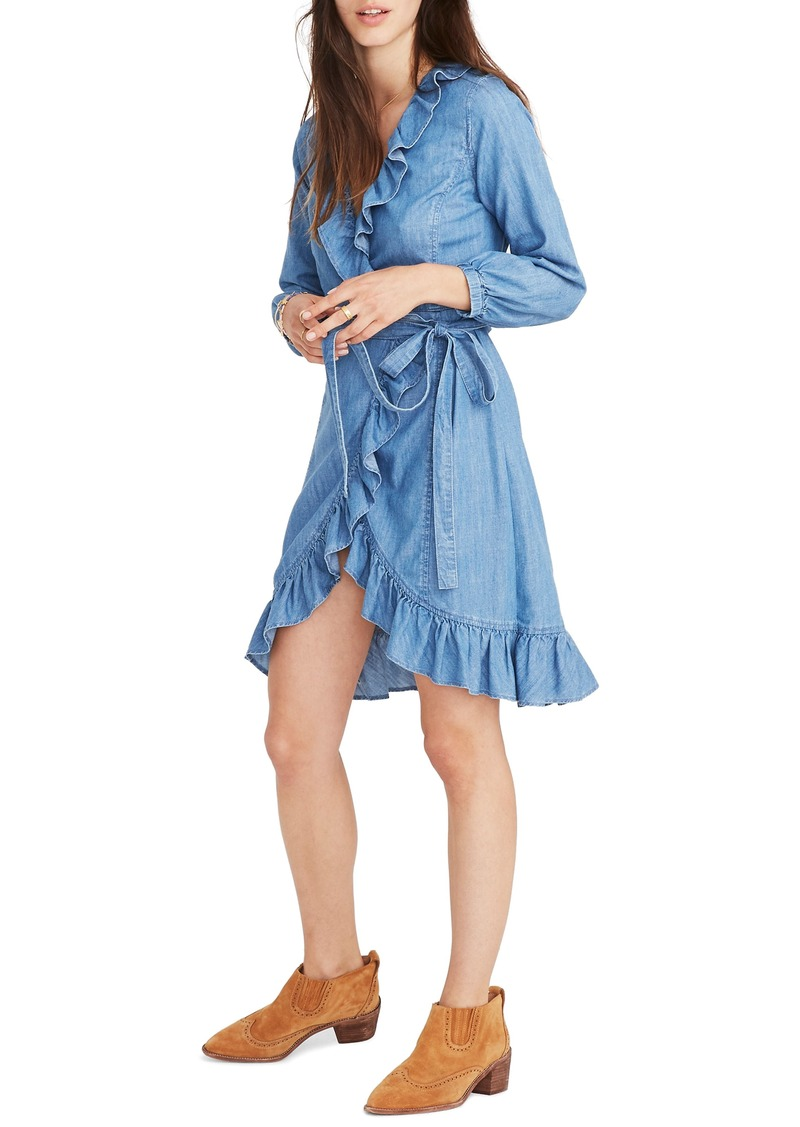 3f4a96c1f0e On Sale today! Madewell Madewell Denim Ruffle Wrap Dress