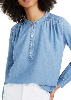 Madewell Denim Shirred Popover Top