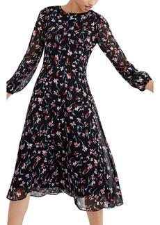 Madewell Drifting Flowers Long Sleeve Midi Dress
