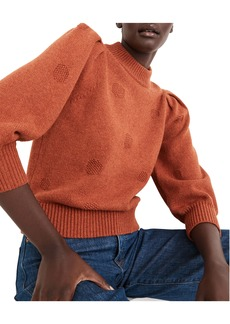 Madewell Eaton Dotted Puff Sleeve Cotton & Merino Yarn Pullover Sweater