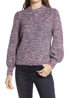 Madewell Eaton Space Dye Puff Sleeve Sweater