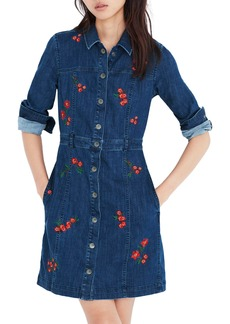 Madewell Embroidered Denim A-Line Dress