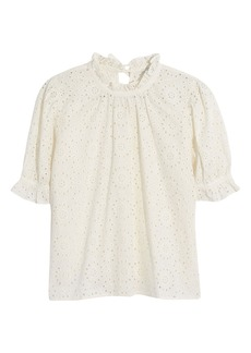 Madewell Embroidered Eyelet Ruffle Neck Keyhole Top