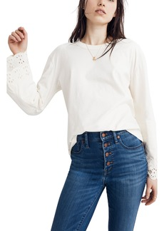 Madewell Embroidered Eyelet Tier Sleeve Tee