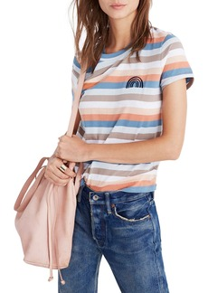 Madewell Embroidered Rainbow Stripe Tee