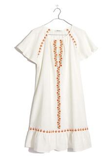 Madewell Embroidered Ruffle Raglan Linen Blend Minidress