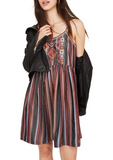 Madewell Embroidered Stripe Babydoll Cami Dress