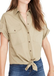 Madewell Embroidered Tie Front Safari Shirt