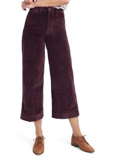 Madewell Emmett Crop Wide Leg Velveteen Pants