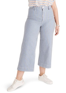 Madewell Emmett Herringbone Railroad Stripe Wide Leg Crop Pants