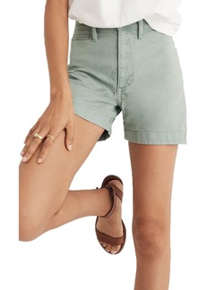 Madewell Emmett High Waist Shorts (Pale Evergreen)