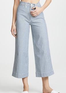Madewell Emmett Wide-Leg Crop Pants in Herringbone Railroad Stripe