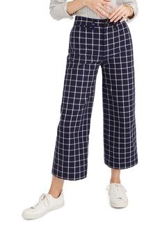 Madewell Emmett Windowpane Plaid Crop Wide Leg Pants