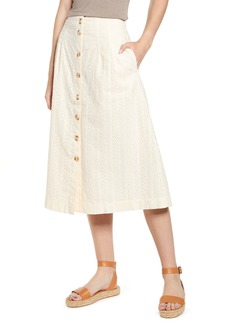 Madewell Eyelet Patio Button Front Midi Skirt