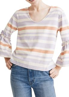 Madewell Fairhaven Stripe Ruffle Sleeve Top