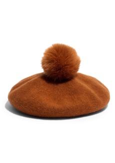 Madewell Faux Fur Pompom Beret