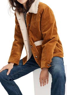 Madewell Faux Shearling Lined Corduroy Swing Chore Coat