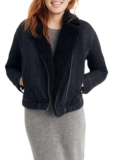 Madewell Faux Shearling Motorcycle Jean Jacket