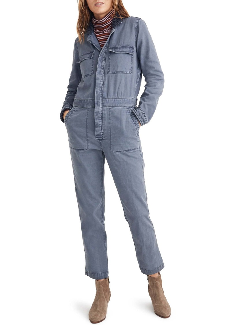 Madewell Faux Shearling Trim Coverall Jumpsuit