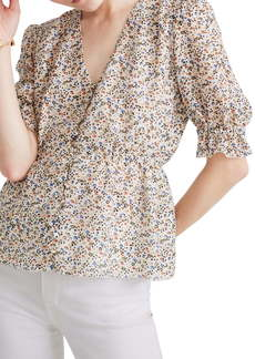 Madewell Fieldwalk Floral Silk V-Neck Peplum Popover Top