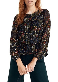 Madewell Finch Floral Sheer Sleeve Ruffle Peplum Top