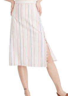 42f05ee30 Madewell Flecked Rainbow Stripe Button Slit Midi Skirt