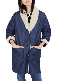 Madewell Fleece Trim Denim Cocoon Coat