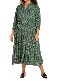 Madewell Fleur Field Button Front Tiered Dress (Plus Size)