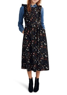 Madewell Floral Corduroy Ruffle Front Dress
