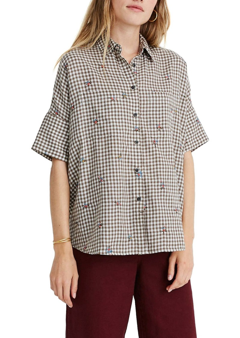 Madewell Floral Embroidered Gingham Courier Shirt