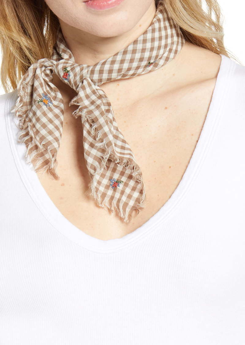 Madewell Floral Embroidered Gingham Fringe Organic Cotton Bandana