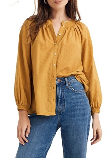 Madewell Floral Embroidered Smocked Neck Raglan Top