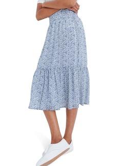 Madewell Floral Print Tiered Peasant Midi Skirt