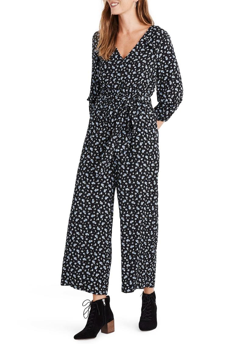 Madewell Floral Ruffle Sleeve Jumpsuit