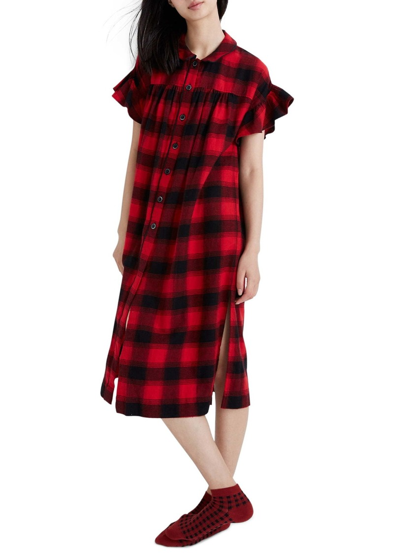 Madewell Flutter Sleeve Flannel Tunic Sleep Dress