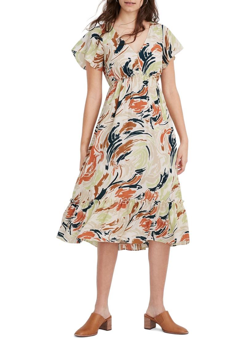 Madewell Flutter Sleeve Ruffle Waist Midi Dress
