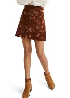 Madewell Forest Floral Corduroy A-Line Miniskirt