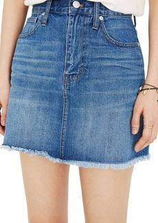 Madewell Frayed A-Line Denim Miniskirt